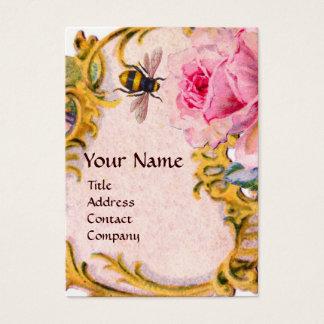 ELEGANT PINK ROSE AND HONEY BEE BEEKEEPER MONOGRAM BUSINESS CARD
