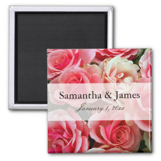 Elegant Pink Rose Bouquet Personalized Wedding Magnet