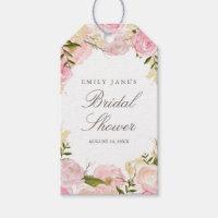 Elegant Pink Rose Bridal Shower Favor Tags