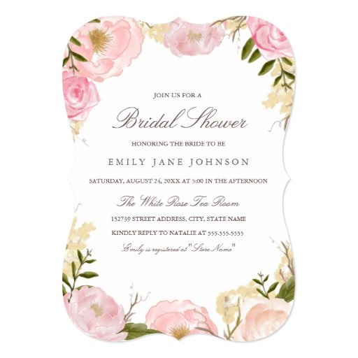 Elegant Pink Rose Bridal Shower Invite