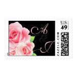Elegant Pink Rose Custom Stamp [Black]