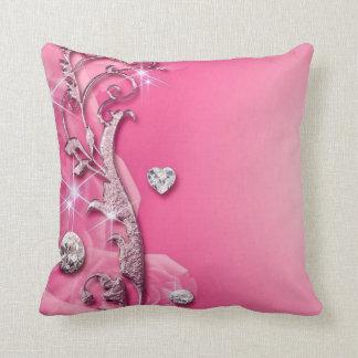Elegant Pink Rose Diamonds Throw Pillow