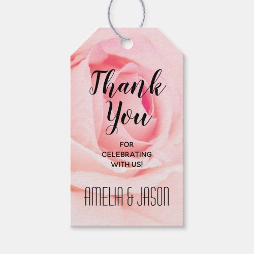 Elegant Pink Rose Floral Thank You Favors Gift Tags