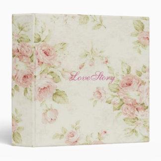 elegant Pink  rose Floral vintage  Bridal Shower 3 Ring Binder