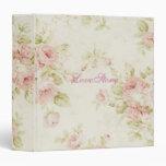 elegant Pink  rose Floral vintage  Bridal Shower Vinyl Binder