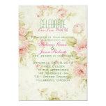 elegant Pink  rose Floral vintage  wedding invite