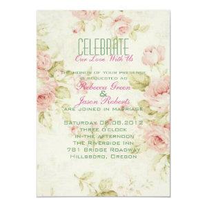 elegant Pink  rose Floral vintage  wedding invite 5