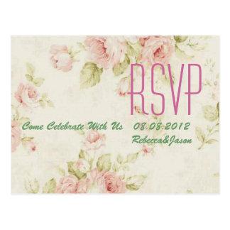 elegant Pink  rose Floral vintage  wedding RSVP Post Cards