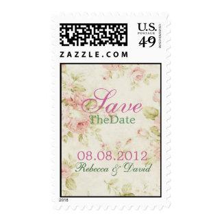 elegant Pink  rose Floral wedding save the date Stamps