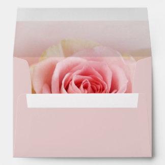 elegant pink rose flower wedding florist envelope