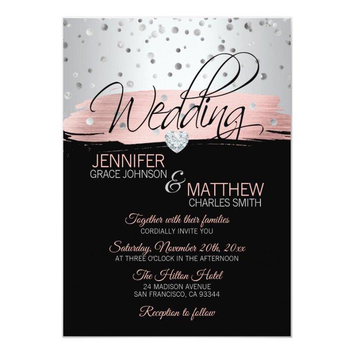 Elegant Pink Rose Gold Silver Black Wedding Invitation Zazzle Com