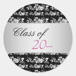 Elegant Pink Rose Graduation Stickers