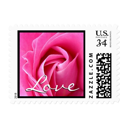 Elegant Pink Rose Love Wedding Black Trim Postage