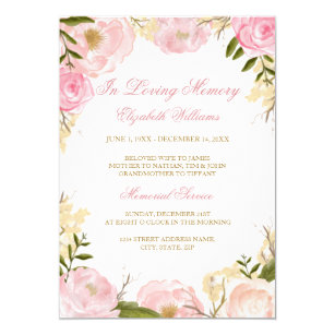 Elegant Pink Rose Memorial Service Invitation