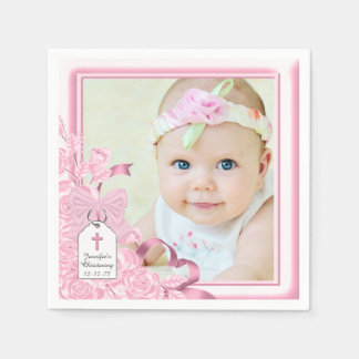 Elegant Pink Rose Photo Christening Paper Napkin