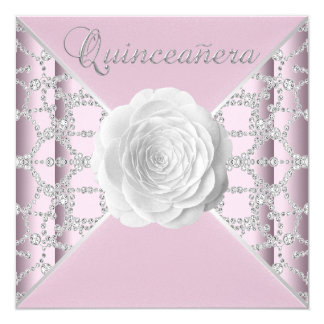 Elegant Pink Rose Quinceanera Card