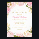 "Elegant Pink Rose Quinceanera Invitation<br><div class=""desc"">More pretty floral Quinceanera invitations in the Little Bayleigh store! We have used artwork from: www.createthecut.com</div>"