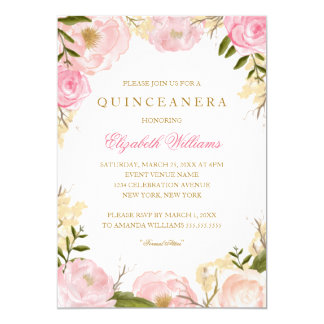 Elegant Pink Rose Quinceanera Invitation