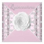 Elegant Pink Rose Quinceanera Personalized Invitations