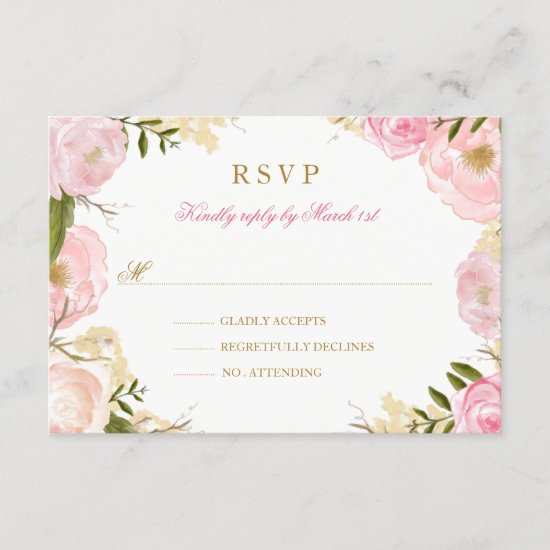 Elegant Pink Rose Quinceanera RSVP