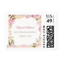 Elegant Pink Rose Quinceanera Stamps