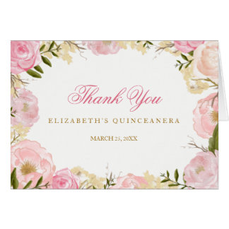 Elegant Pink Rose Quinceanera Thank You Card