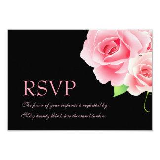 "Elegant Pink Rose Response Card [Black] 3.5"" X 5"" Invitation Card"