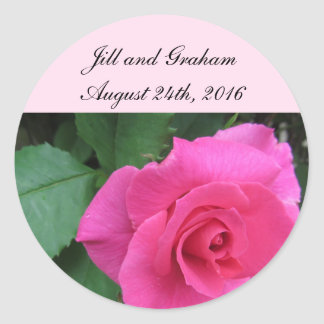Elegant Pink Rose Save the Date Classic Round Sticker