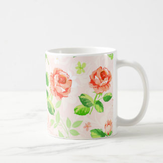 Elegant Pink Rose vintage Pattern Coffee Mug