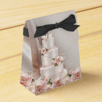 Elegant Pink Rose Wedding Cake Wedding Favor Box