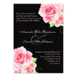 Elegant Pink Rose Wedding Invitation [Black]