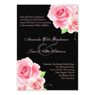 "Elegant Pink Rose Wedding Invitation [Black] 5"" X 7"" Invitation Card"