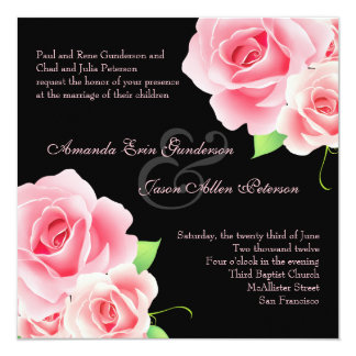 Elegant Pink Rose Wedding Invitation [Black]