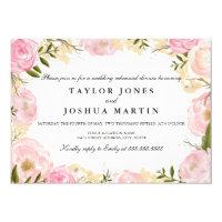 Elegant Pink Rose Wedding Rehearsal Dinner Invite