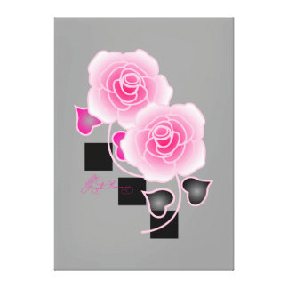 Elegant Pink Roses And Black Squares Stretched Canvas Print