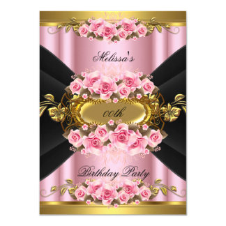 Elegant Pink Roses Black Gold Birthday Party Card