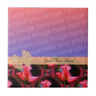 Elegant Pink Roses Design Ribbon Your Photo Tile