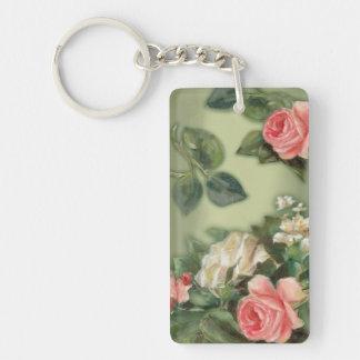 Elegant pink roses Double-Sided rectangular acrylic keychain