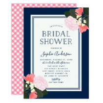 Elegant Pink Roses Floral Bridal Shower Invitation