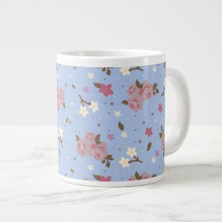 Elegant Pink Roses Floral Pattern on Baby Blue 20 Oz Large Ceramic Coffee Mug