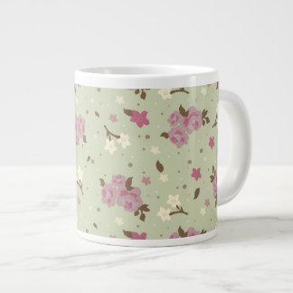 Elegant Pink Roses Floral Pattern on Pastel Green Giant Coffee Mug