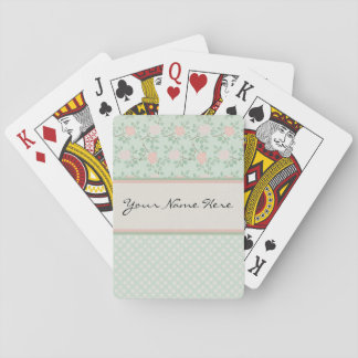Elegant Pink Roses on Green Deck Of Cards