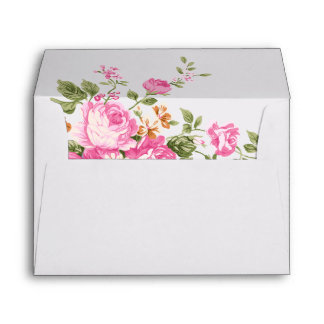 Elegant Pink Roses on Ivory with Gold Frame Envelope