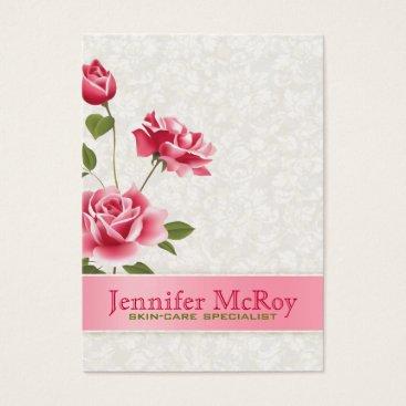 Professional Business Elegant Pink Roses Plush White Damasks Business Card