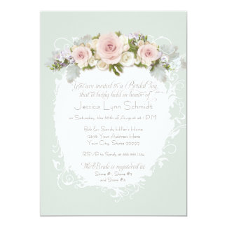 Elegant Pink Roses Succulents Bridal Shower Tea Card
