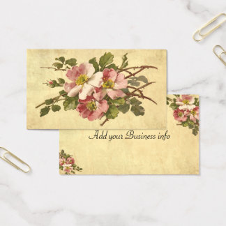 Elegant Pink Roses, Vintage Business Card