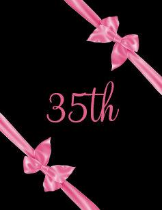 Elegant Pink Satin Bows 35th Birthday Invitation
