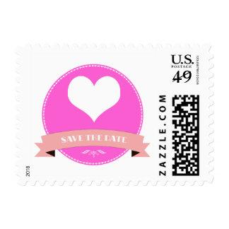 Elegant Pink Save the Date Postage Stamp