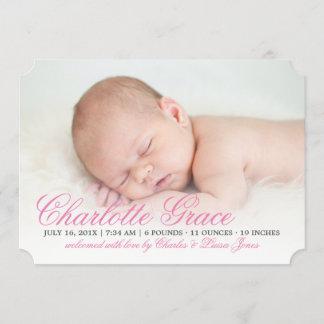Elegant Pink Script Birth Announcement