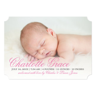 Elegant Pink Script Birth Announcement